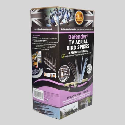 Defender TV Aerial Bird Spikes Pack Side of Box