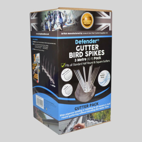 Defender Gutter Bird Spikes Pack Side of Box