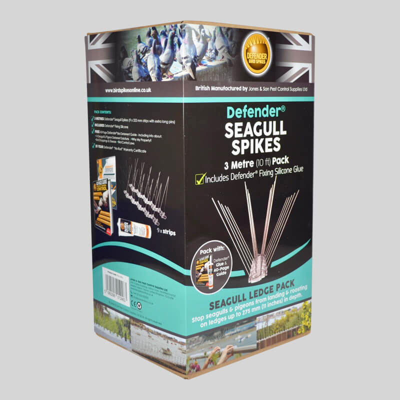 Defender Seagull Spikes Pack Side of Box