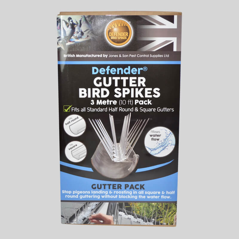 Defender Gutter Bird Spikes Pack Front of Box