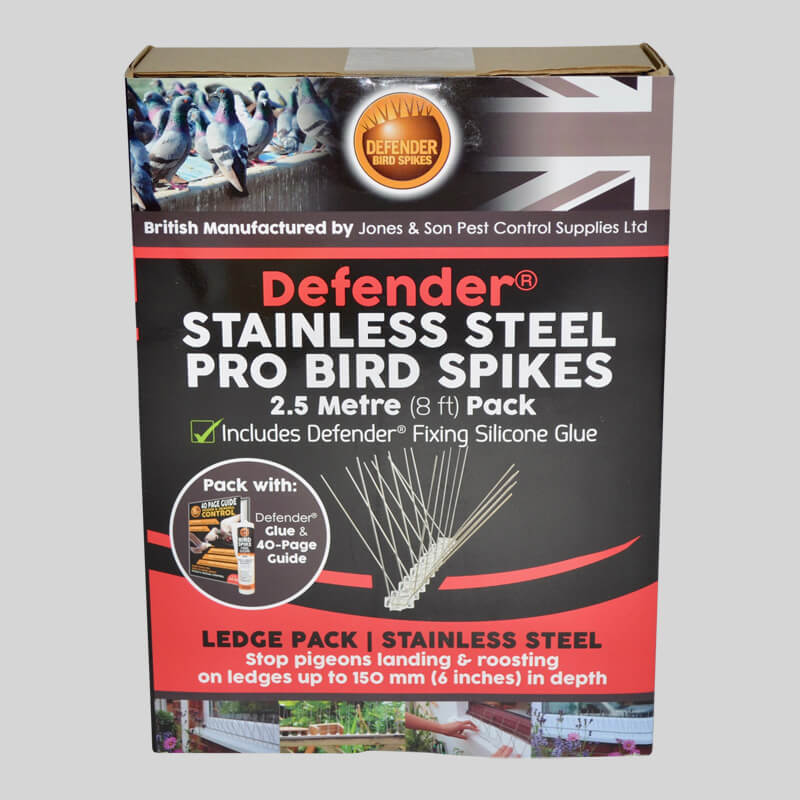 Defender Pro Stainless Steel Bird Spikes Pack Front of Box