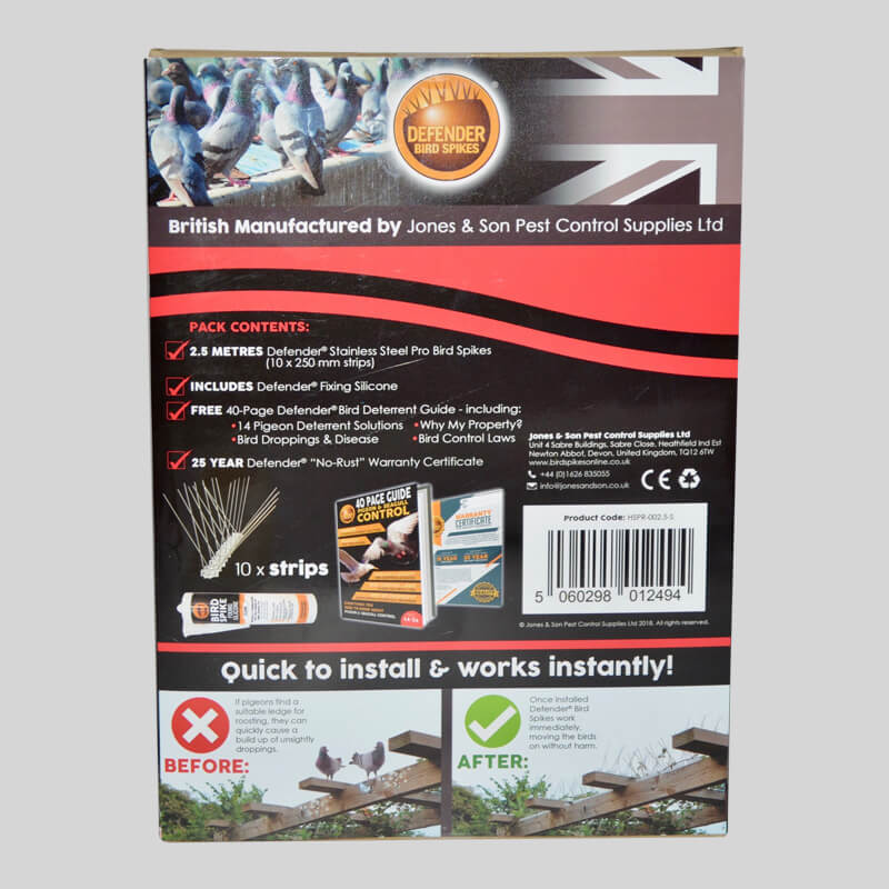 Defender Pro Stainless Steel Bird Spikes Pack Back of Box