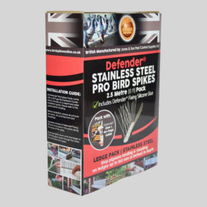 Defender Pro Stainless Steel Bird Spikes Pack Side of Box