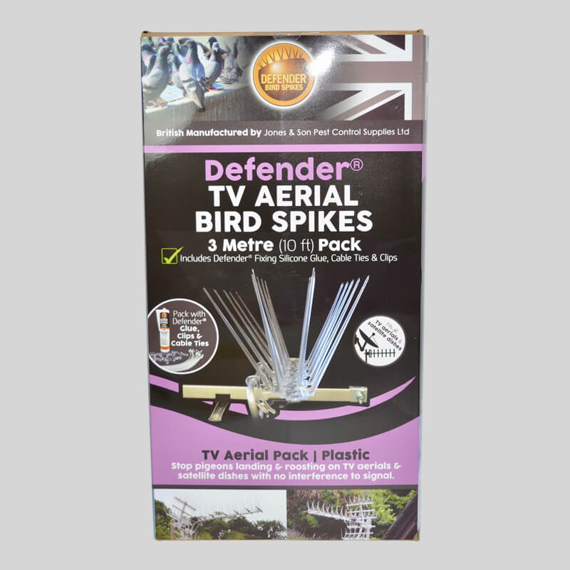 Defender TV Aerial Bird Spikes Pack Front of Box