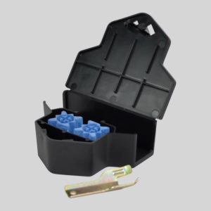 Protecta Micro Mouse Bait Station Open with Key and Bait Blocks Inside