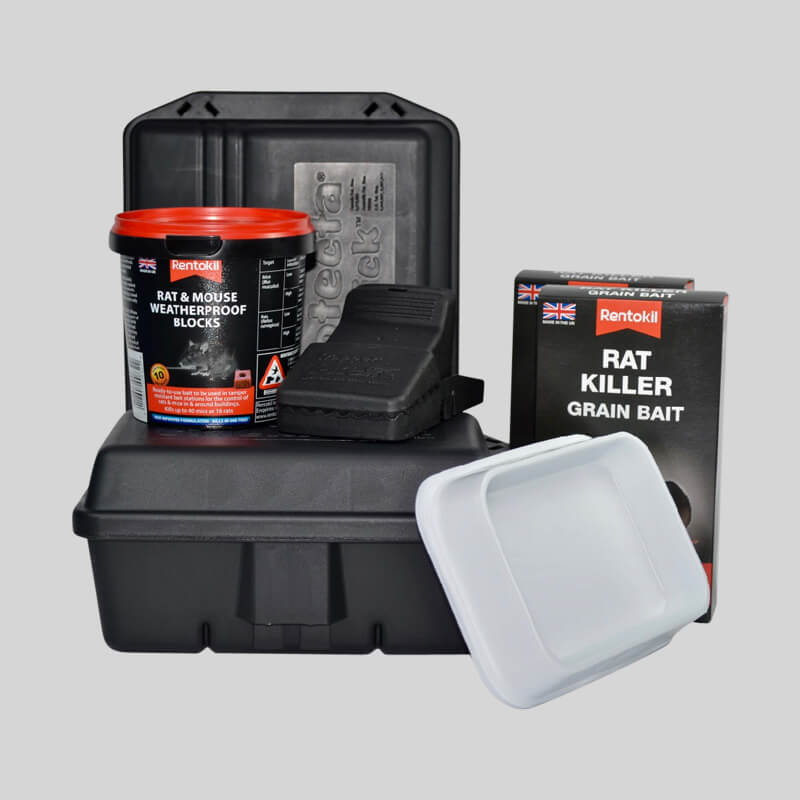 Rat control kit with traps, boxes and bait