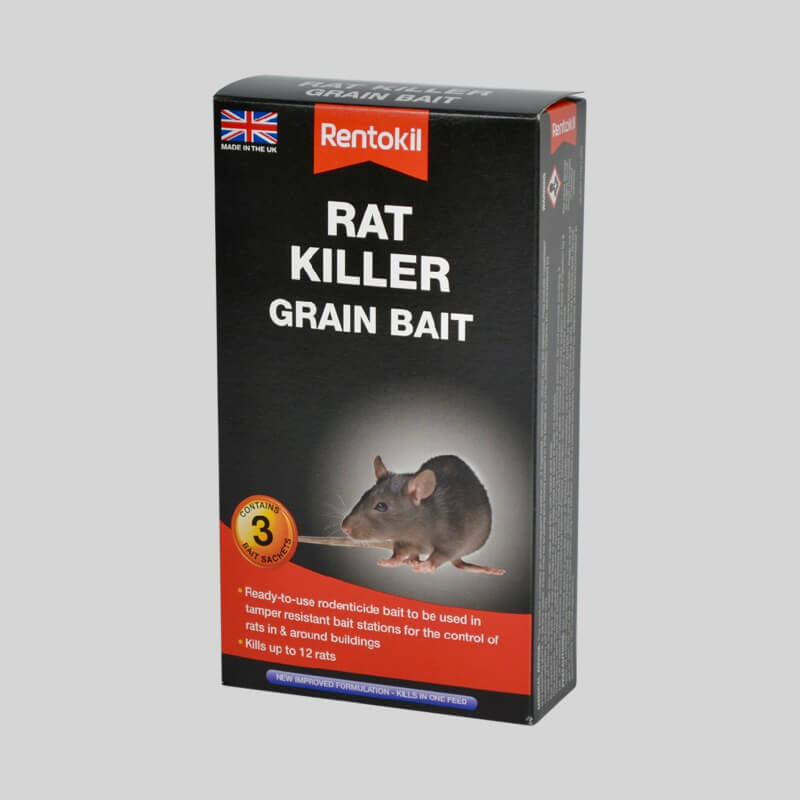 Rentokil Rat Killer Grain Bait Side View of Box